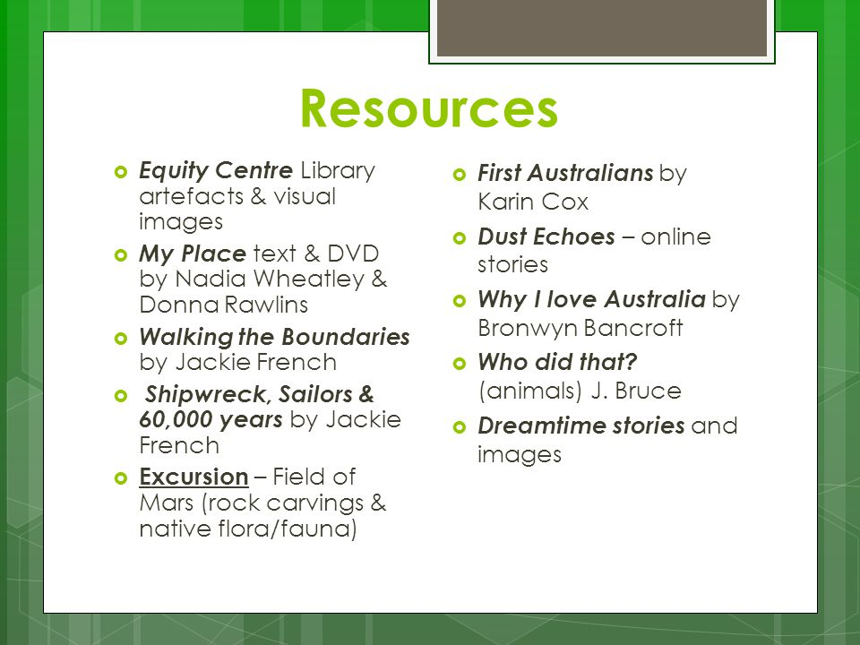 Resources  Equity Centre Library artefacts & visual images  My Place text & DVD by Nadia Wheatley & Donna Rawlins  Walking the Boundaries by Jackie