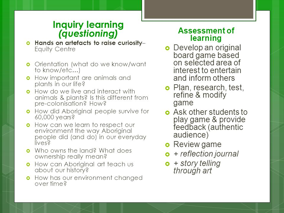 Inquiry learning (questioning)  Hands on artefacts to raise curiosity – Equity Centre  Orientation (what do we know/want to know/etc…)  How importa