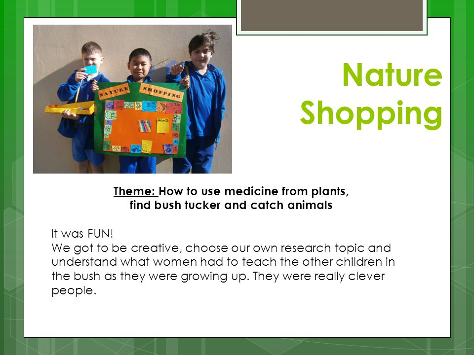 Nature Shopping Theme: How to use medicine from plants, find bush tucker and catch animals It was FUN! We got to be creative, choose our own research