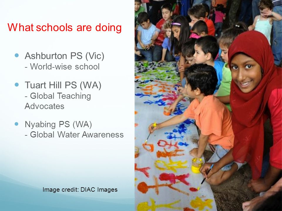 What schools are doing Ashburton PS (Vic) - World-wise school Tuart Hill PS (WA) - Global Teaching Advocates Nyabing PS (WA) - Global Water Awareness Image credit: DIAC Images