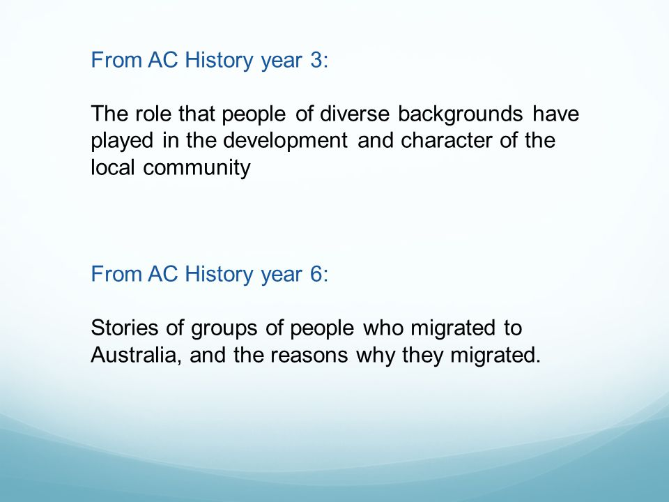 From AC History year 3: The role that people of diverse backgrounds have played in the development and character of the local community From AC History year 6: Stories of groups of people who migrated to Australia, and the reasons why they migrated.