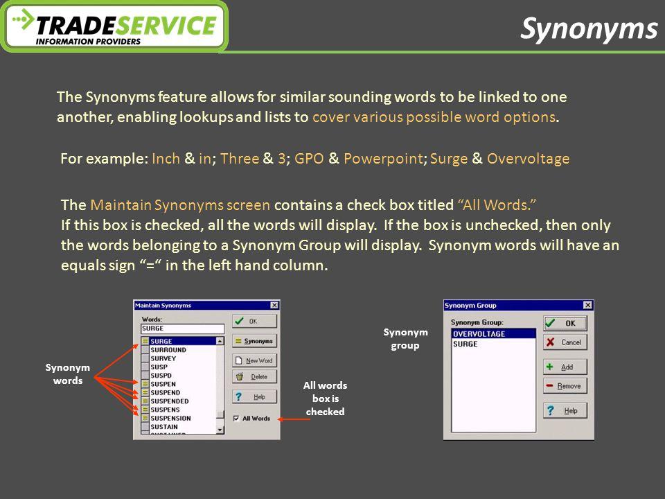 Synonyms Synonym words All words box is checked Synonym group The Synonyms feature allows for similar sounding words to be linked to one another, enabling lookups and lists to cover various possible word options.
