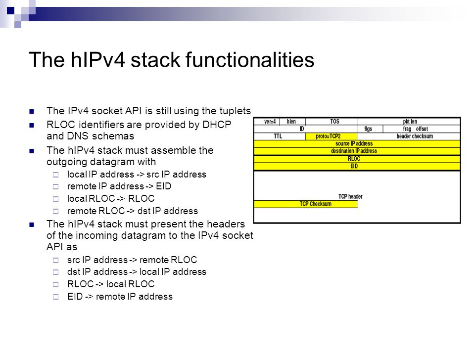 The hIPv4 stack functionalities The IPv4 socket API is still using the tuplets RLOC identifiers are provided by DHCP and DNS schemas The hIPv4 stack must assemble the outgoing datagram with  local IP address -> src IP address  remote IP address -> EID  local RLOC -> RLOC  remote RLOC -> dst IP address The hIPv4 stack must present the headers of the incoming datagram to the IPv4 socket API as  src IP address -> remote RLOC  dst IP address -> local IP address  RLOC -> local RLOC  EID -> remote IP address