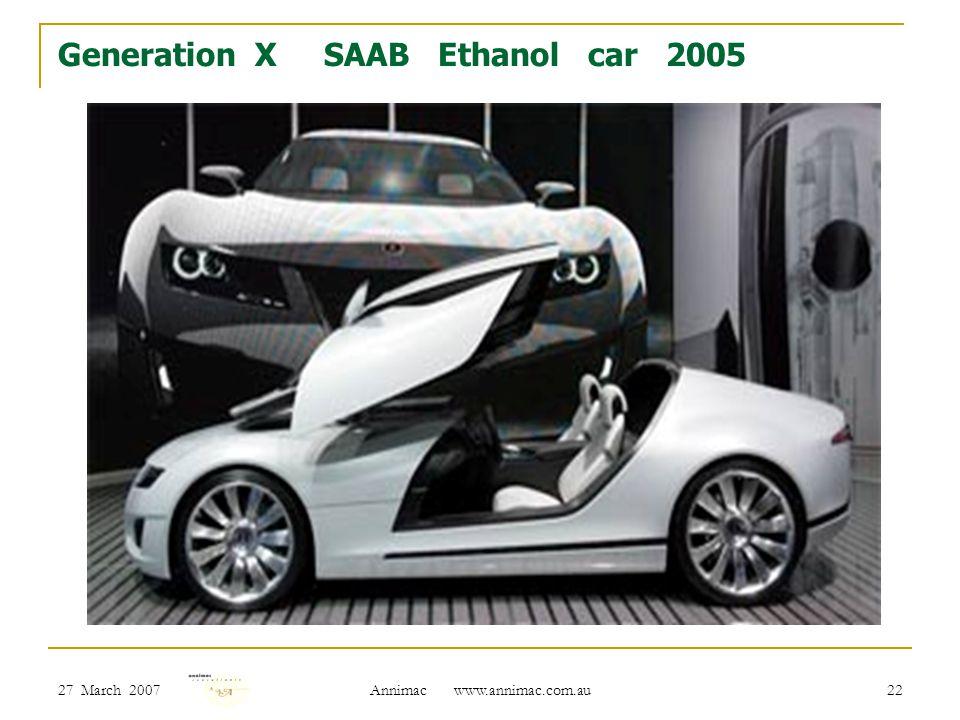 27 March 2007 Annimac www.annimac.com.au 22 Generation X SAAB Ethanol car 2005