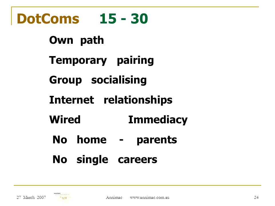 27 March 2007 Annimac www.annimac.com.au 24 DotComs 15 - 30 Own path Temporary pairing Group socialising Internet relationships Wired Immediacy No home - parents No single careers