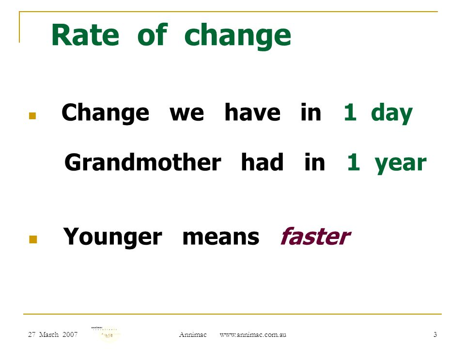 27 March 2007 Annimac www.annimac.com.au 3 Rate of change Change we have in 1 day Grandmother had in 1 year Younger means faster
