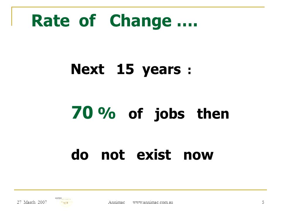 27 March 2007 Annimac www.annimac.com.au 5 Rate of Change …. Next 15 years : 70 % of jobs then do not exist now