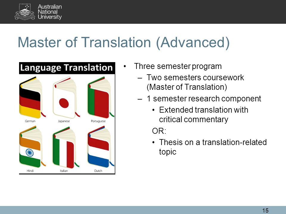 Master of Translation (Advanced) Three semester program –Two semesters coursework (Master of Translation) –1 semester research component Extended translation with critical commentary OR: Thesis on a translation-related topic 15
