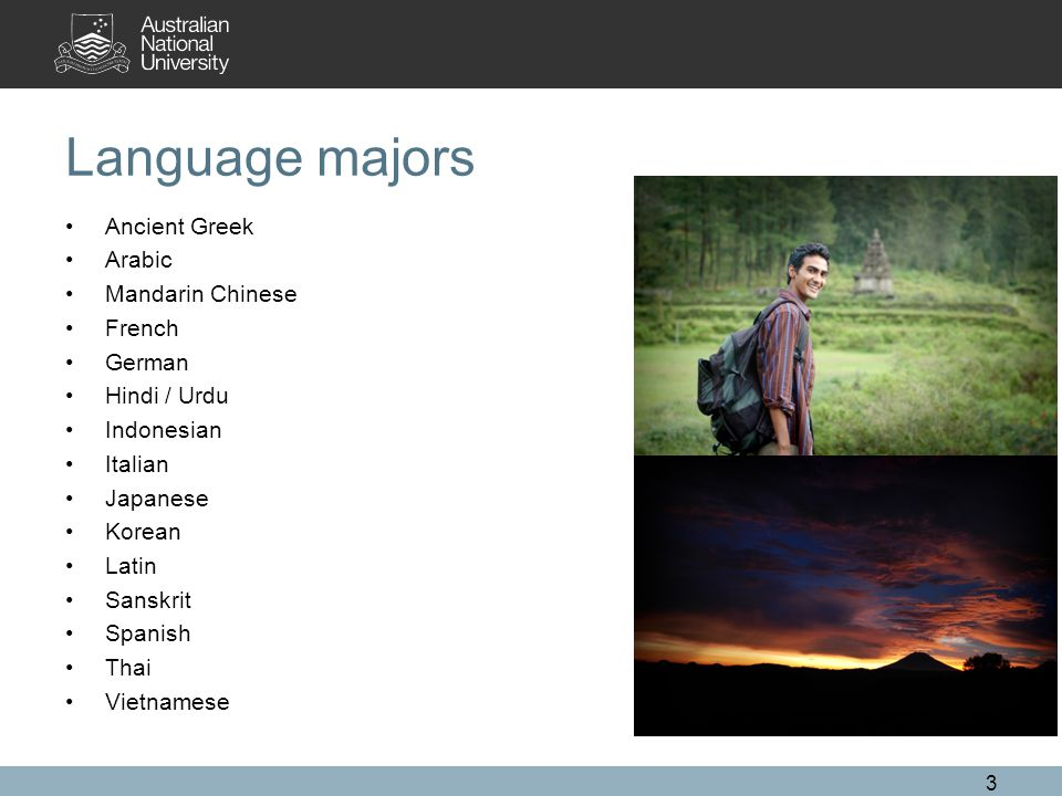 Language majors Ancient Greek Arabic Mandarin Chinese French German Hindi / Urdu Indonesian Italian Japanese Korean Latin Sanskrit Spanish Thai Vietnamese 3