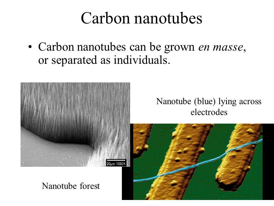 Carbon nanotubes Carbon nanotubes can be grown en masse, or separated as individuals. Nanotube forest Nanotube (blue) lying across electrodes