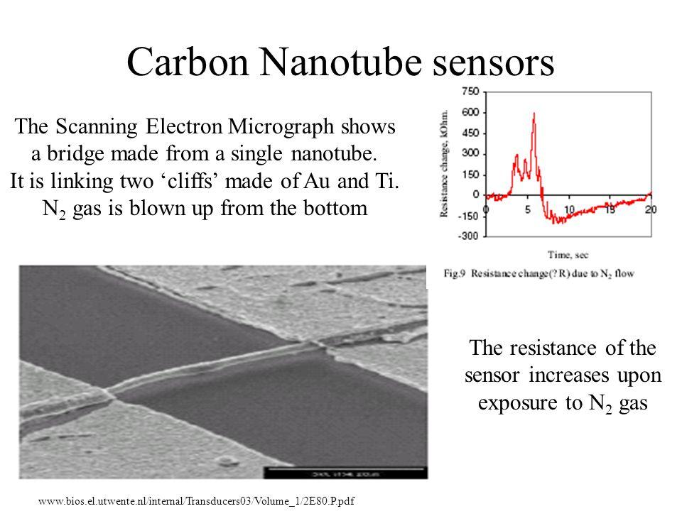 Carbon Nanotube sensors The resistance of the sensor increases upon exposure to N 2 gas www.bios.el.utwente.nl/internal/Transducers03/Volume_1/2E80.P.