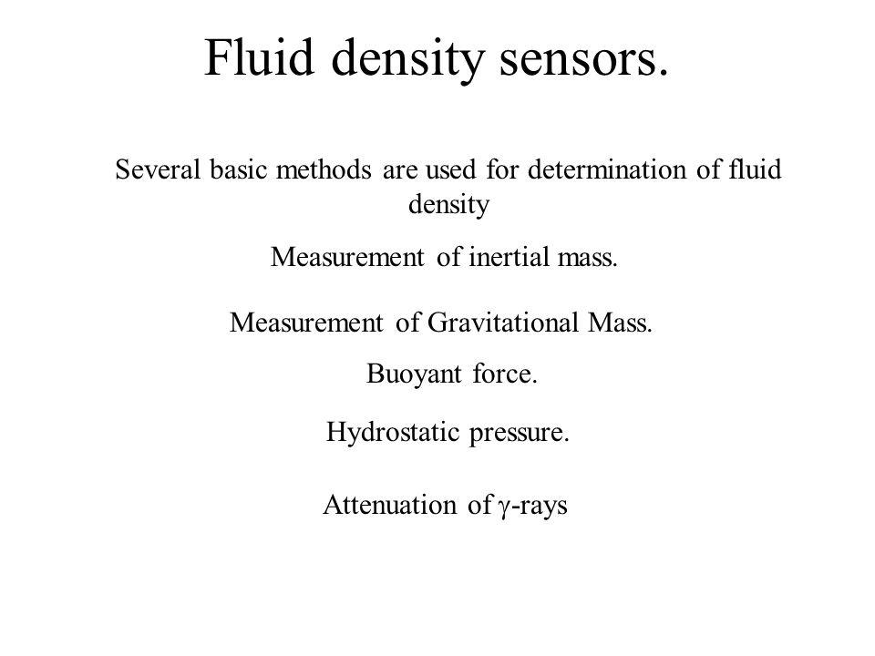 Fluid density sensors. Several basic methods are used for determination of fluid density Measurement of inertial mass. Measurement of Gravitational Ma