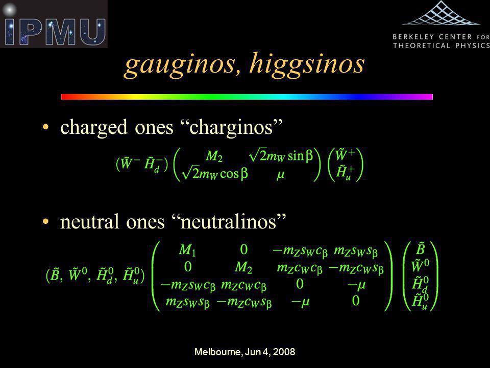 Melbourne, Jun 4, 2008 gauginos, higgsinos charged ones charginos neutral ones neutralinos
