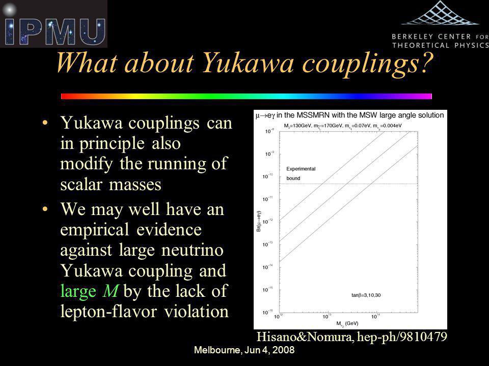Melbourne, Jun 4, 2008 What about Yukawa couplings.
