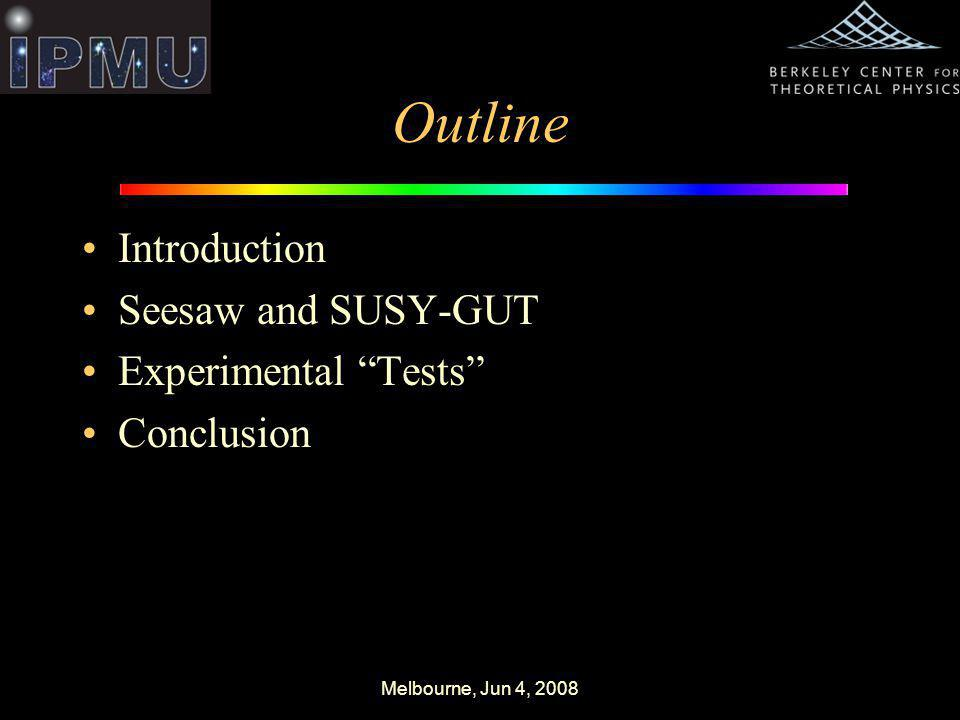Melbourne, Jun 4, 2008 Outline Introduction Seesaw and SUSY-GUT Experimental Tests Conclusion
