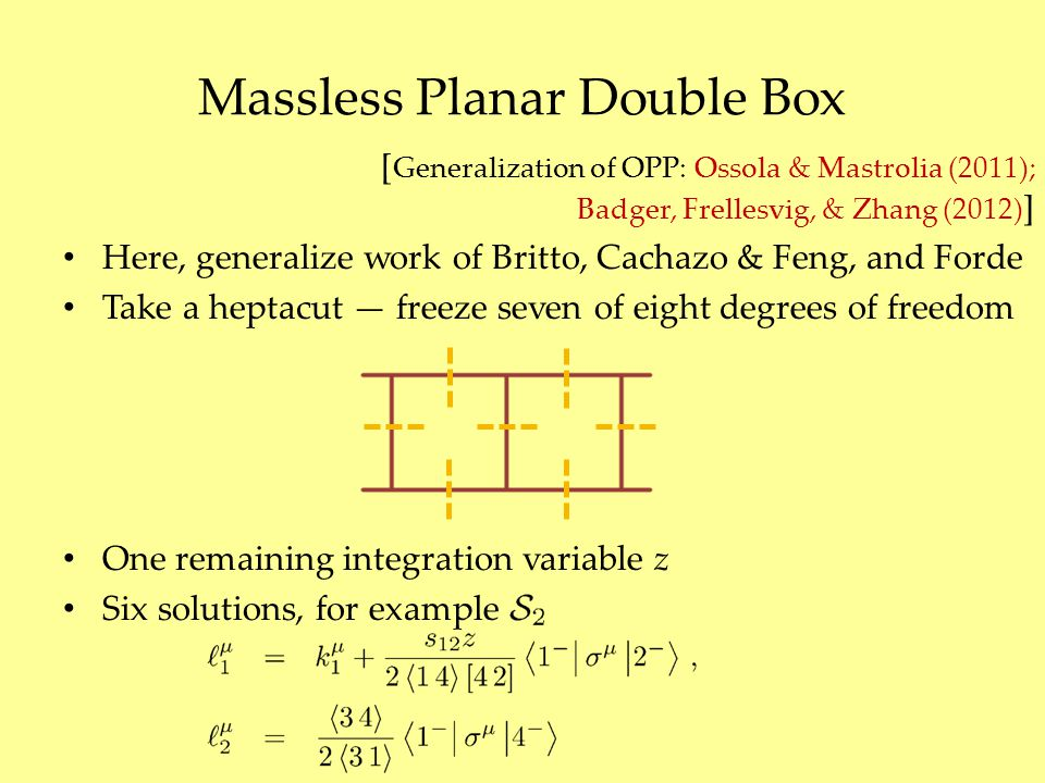 Massless Planar Double Box [ Generalization of OPP: Ossola & Mastrolia (2011); Badger, Frellesvig, & Zhang (2012) ] Here, generalize work of Britto, C