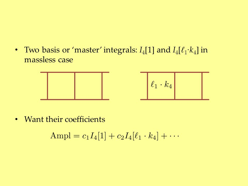 Two basis or 'master' integrals: I 4 [1] and I 4 [ ℓ 1 ∙ k 4 ] in massless case Want their coefficients
