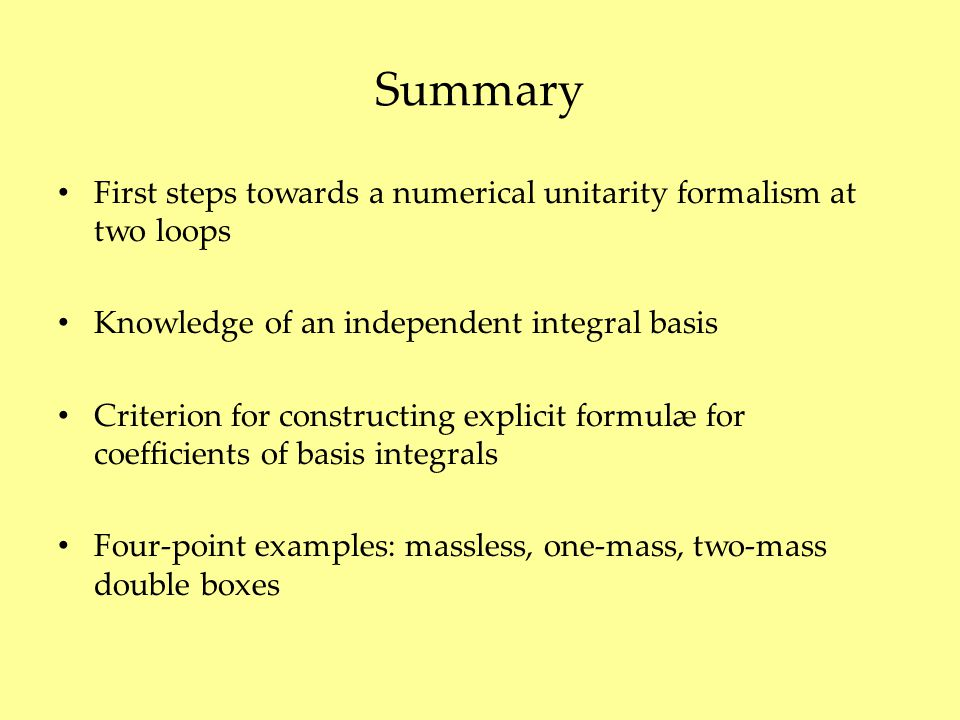 Summary First steps towards a numerical unitarity formalism at two loops Knowledge of an independent integral basis Criterion for constructing explici
