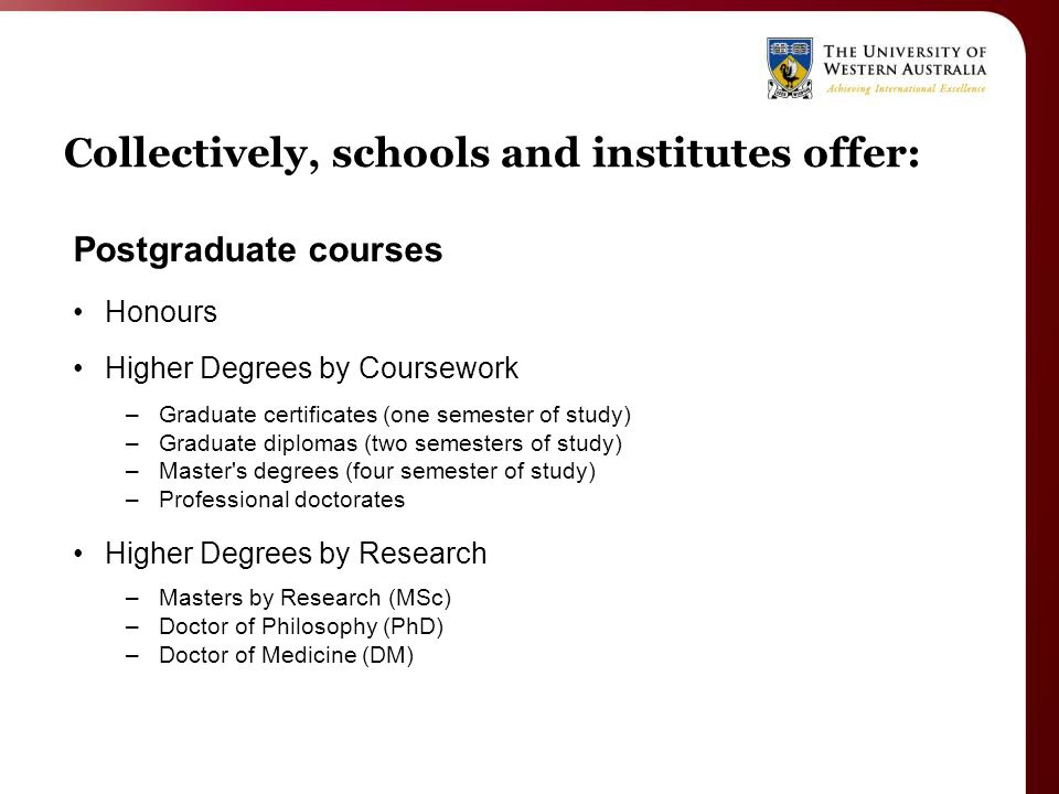 Collectively, schools and institutes offer: Postgraduate courses Honours Higher Degrees by Coursework –Graduate certificates (one semester of study) –Graduate diplomas (two semesters of study) –Master s degrees (four semester of study) –Professional doctorates Higher Degrees by Research –Masters by Research (MSc) –Doctor of Philosophy (PhD) –Doctor of Medicine (DM)