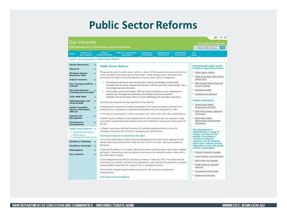 NSW DEPARTMENT OF EDUCATION AND COMMUNITIES – UNIT/DIRECTORATE NAME WWW.DEC.NSW.GOV.AU Public Sector Reforms