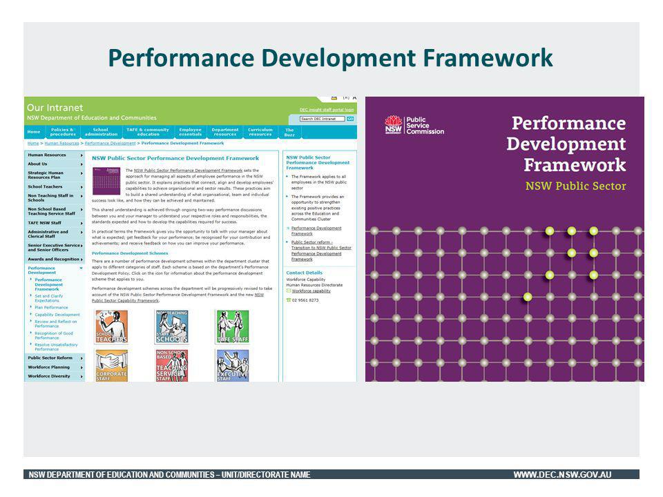 NSW DEPARTMENT OF EDUCATION AND COMMUNITIES – UNIT/DIRECTORATE NAME WWW.DEC.NSW.GOV.AU Performance Development Framework