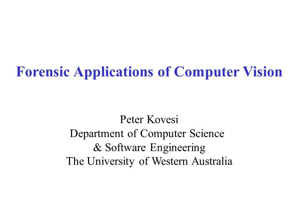 Application areas Image enhancement Image metrology Biometric identification