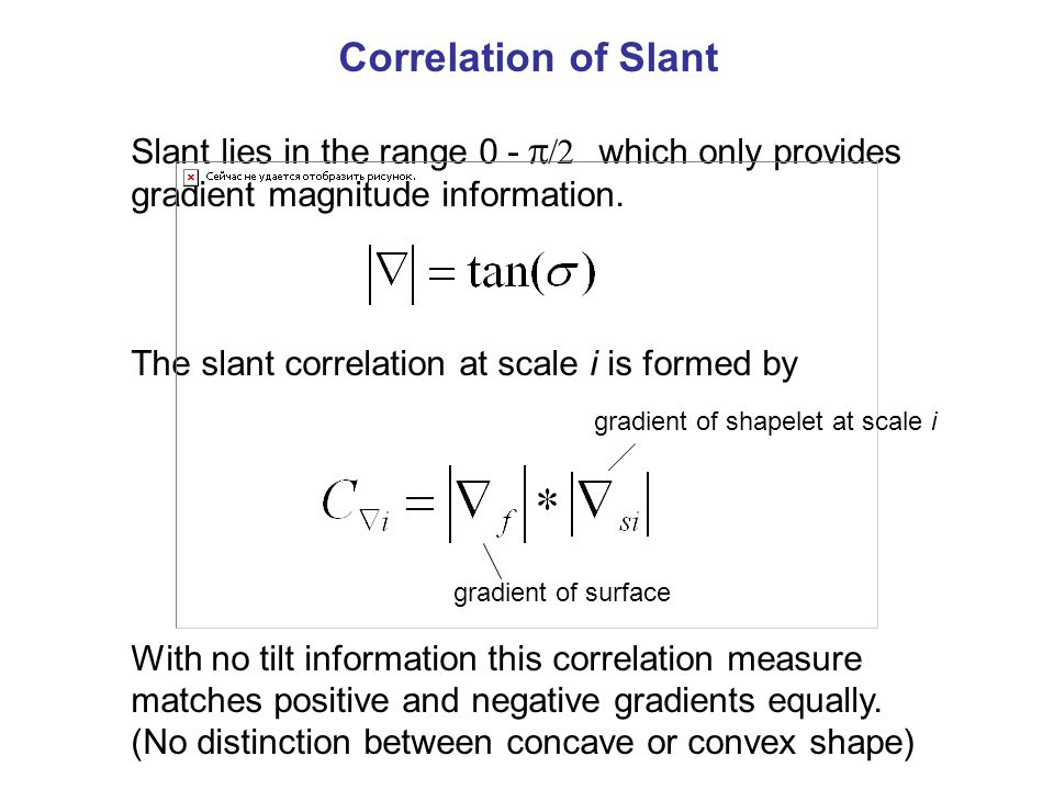 Correlation of Slant Slant lies in the range 0 -   which only provides gradient magnitude information.