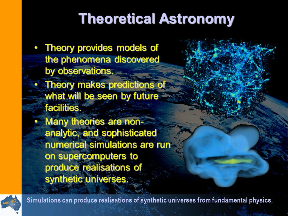 Theoretical Astronomy Theory provides models of the phenomena discovered by observations.Theory provides models of the phenomena discovered by observations.