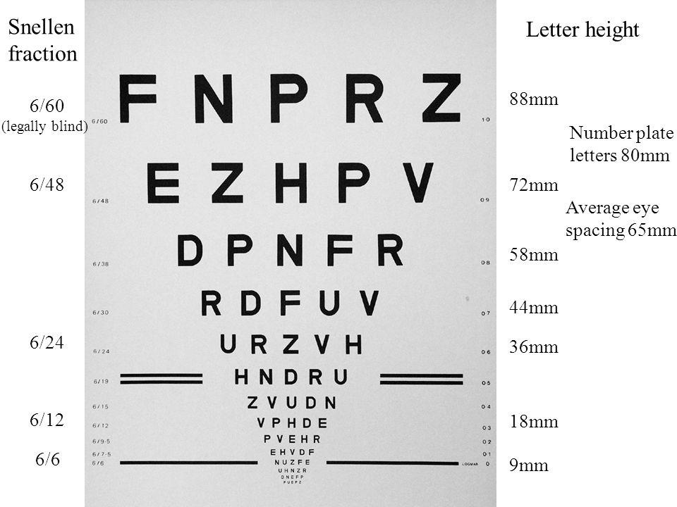 88mm 72mm 58mm 36mm 44mm 6/6 6/12 6/24 6/48 Snellen fraction Letter height Number plate letters 80mm Average eye spacing 65mm 9mm 18mm 6/60 (legally blind)