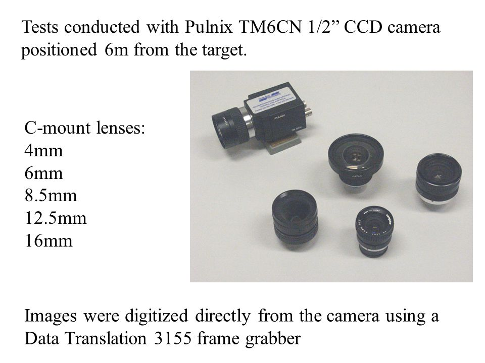 Tests conducted with Pulnix TM6CN 1/2 CCD camera positioned 6m from the target.