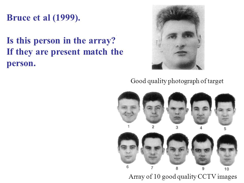 Good quality photograph of target Array of 10 good quality CCTV images Bruce et al (1999).