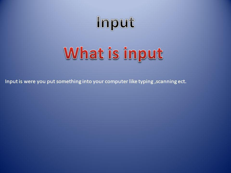 Input is were you put something into your computer like typing,scanning ect.