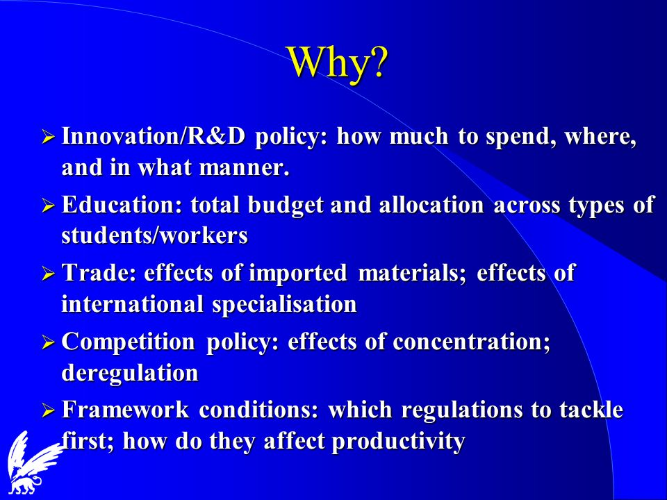 Why.  Innovation/R&D policy: how much to spend, where, and in what manner.