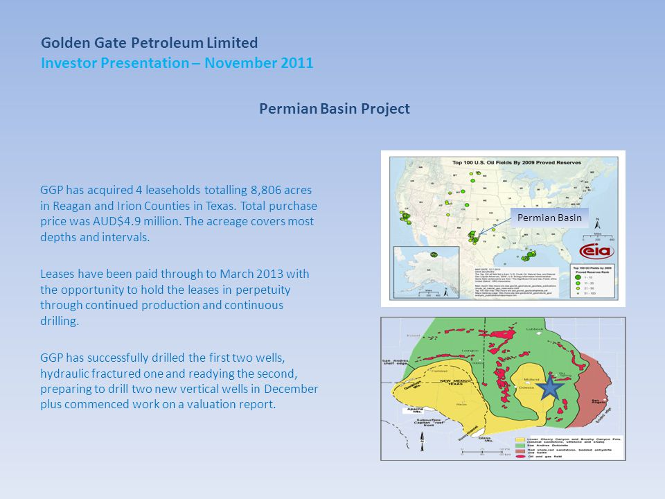 Permian Basin Project GGP has acquired 4 leaseholds totalling 8,806 acres in Reagan and Irion Counties in Texas.