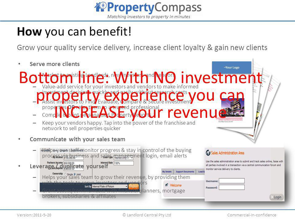 Matching investors to property in minutes Version: 2011-5-20© Landlord Central Pty LtdCommercial-in-confidence Setup 24 hours Easily add a new landing page or link on your website, directing interest to your branded Property Compass® Several URL options Here are some sample themes Customisation is available, menu etc