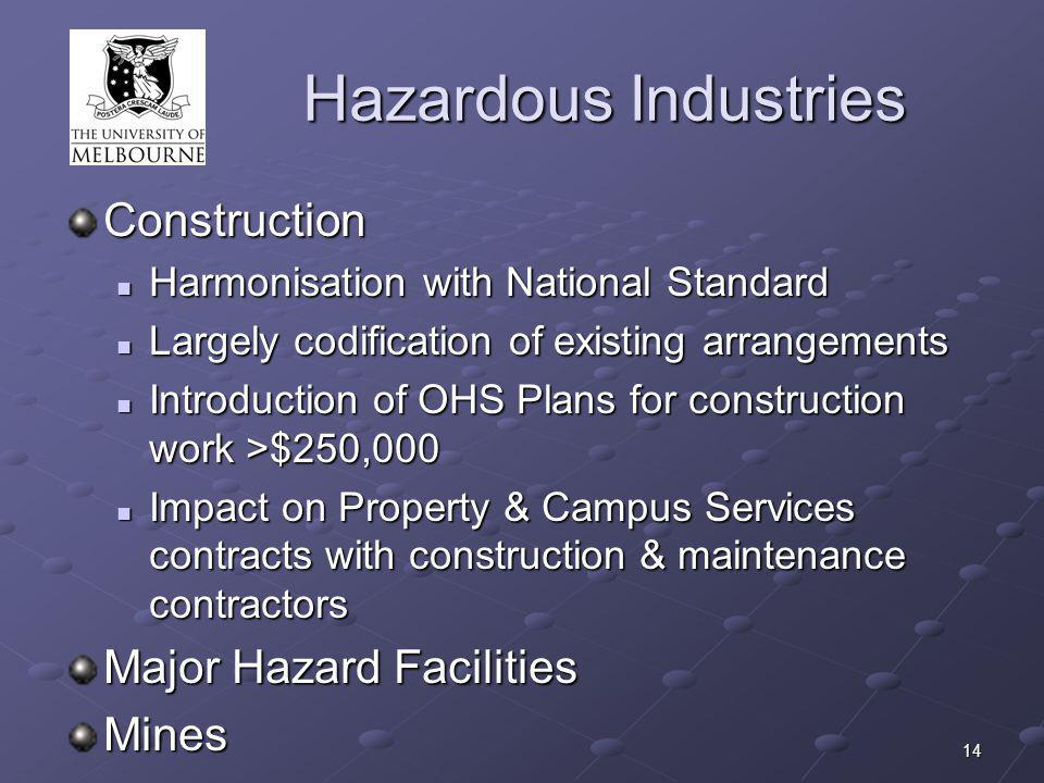 14 Hazardous Industries Construction Harmonisation with National Standard Harmonisation with National Standard Largely codification of existing arrangements Largely codification of existing arrangements Introduction of OHS Plans for construction work >$250,000 Introduction of OHS Plans for construction work >$250,000 Impact on Property & Campus Services contracts with construction & maintenance contractors Impact on Property & Campus Services contracts with construction & maintenance contractors Major Hazard Facilities Mines