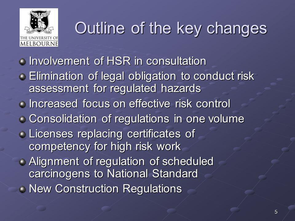 5 Outline of the key changes Involvement of HSR in consultation Elimination of legal obligation to conduct risk assessment for regulated hazards Increased focus on effective risk control Consolidation of regulations in one volume Licenses replacing certificates of competency for high risk work Alignment of regulation of scheduled carcinogens to National Standard New Construction Regulations
