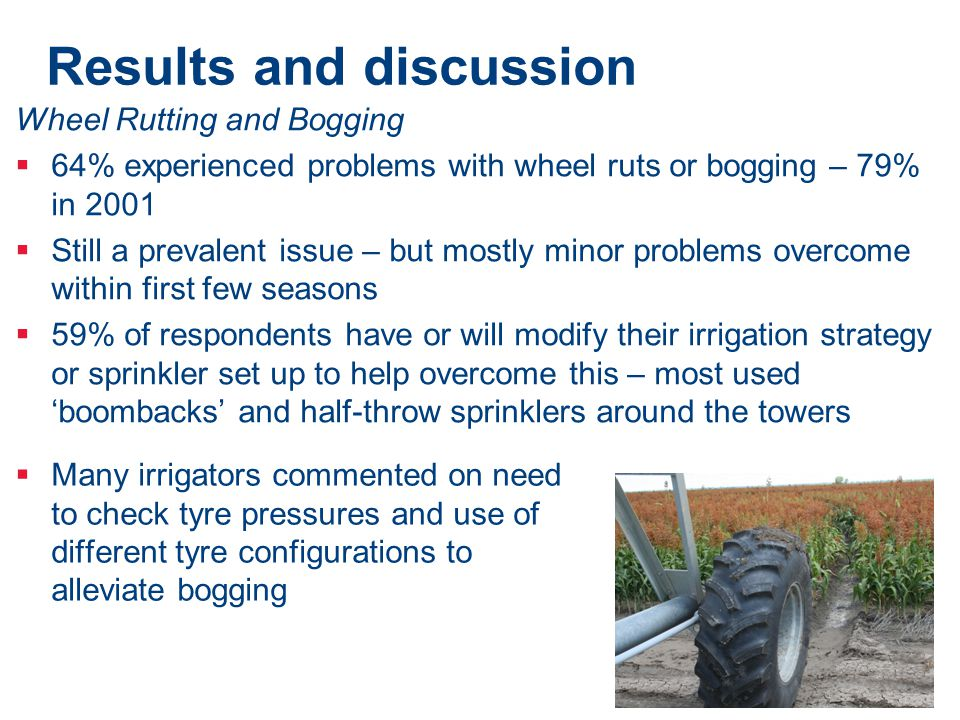 Results and discussion Wheel Rutting and Bogging  64% experienced problems with wheel ruts or bogging – 79% in 2001  Still a prevalent issue – but m
