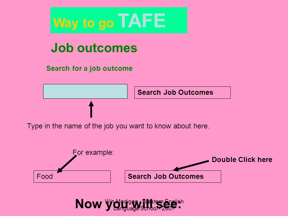 Win Madigan - Western English Language School - 2007 Way to go TAFE Job outcomes Search for a job outcome Search Job Outcomes Type in the name of the