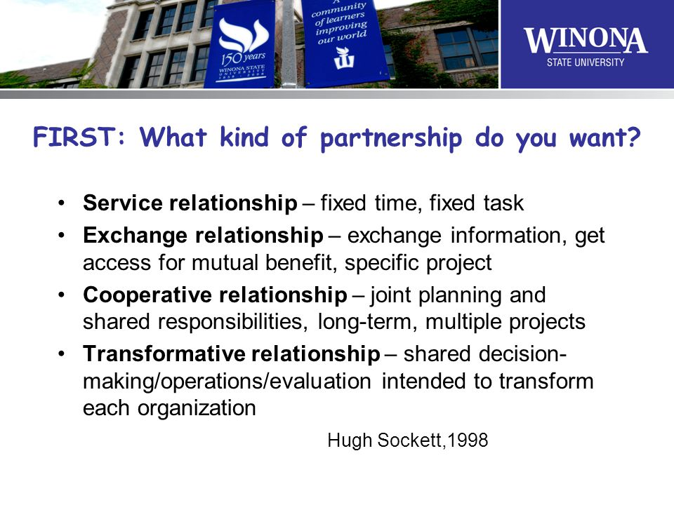 FIRST: What kind of partnership do you want.