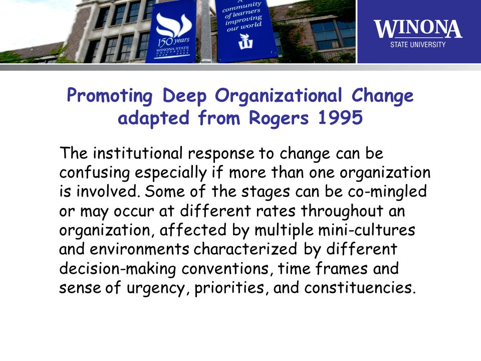 Promoting Deep Organizational Change adapted from Rogers 1995 The institutional response to change can be confusing especially if more than one organization is involved.