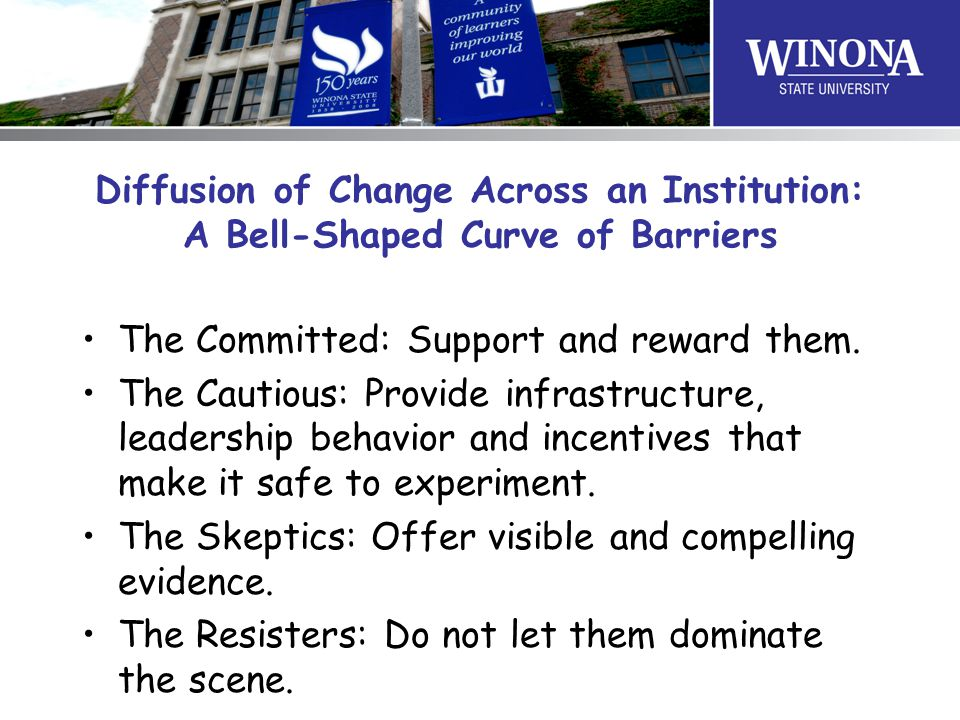 Diffusion of Change Across an Institution: A Bell-Shaped Curve of Barriers The Committed: Support and reward them.