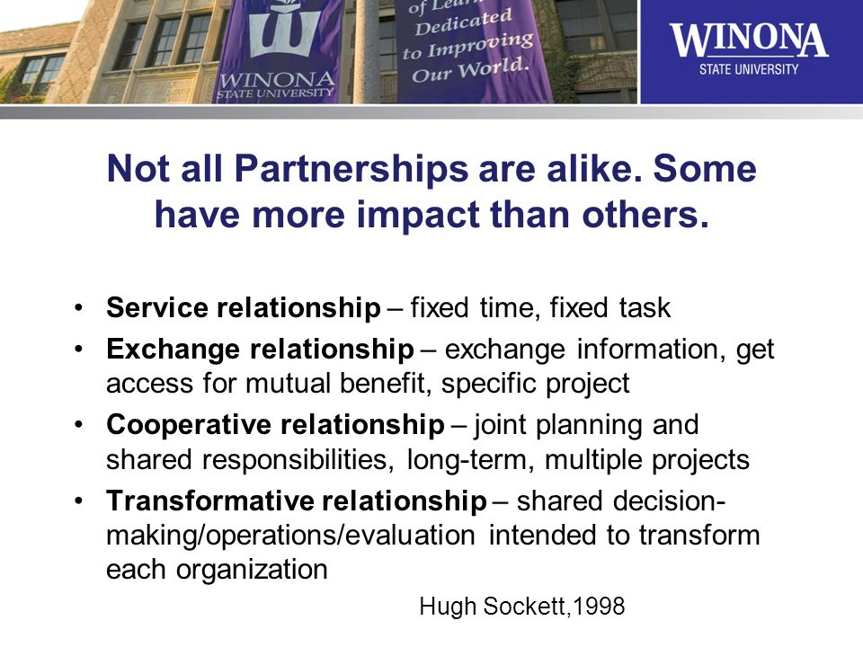 Not all Partnerships are alike. Some have more impact than others. Service relationship – fixed time, fixed task Exchange relationship – exchange info