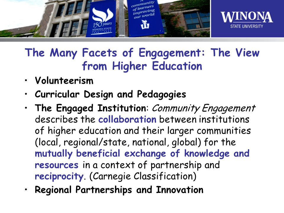 The Many Facets of Engagement: The View from Higher Education Volunteerism Curricular Design and Pedagogies The Engaged Institution: Community Engagem
