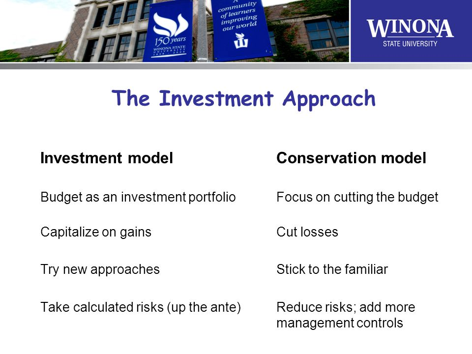 The Investment Approach Investment model Conservation model Budget as an investment portfolio Focus on cutting the budget Capitalize on gainsCut losses Try new approachesStick to the familiar Take calculated risks (up the ante)Reduce risks; add more management controls