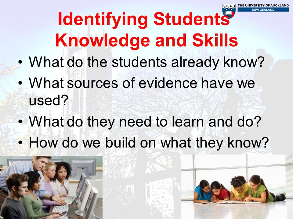 Identifying Students' Knowledge and Skills What do the students already know.