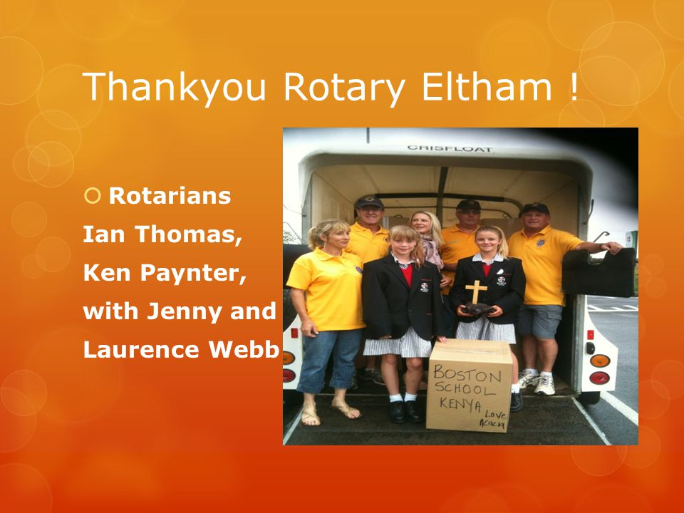Thankyou Rotary Eltham !  Rotarians Ian Thomas, Ken Paynter, with Jenny and Laurence Webb