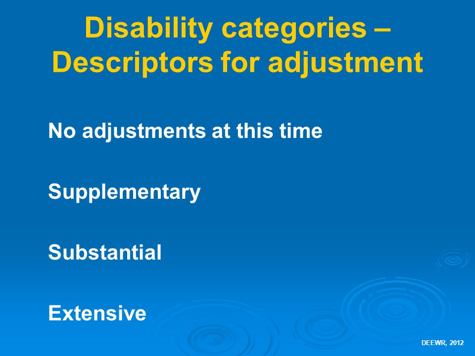 Disability categories – Descriptors for adjustment No adjustments at this time Supplementary Substantial Extensive DEEWR, 2012
