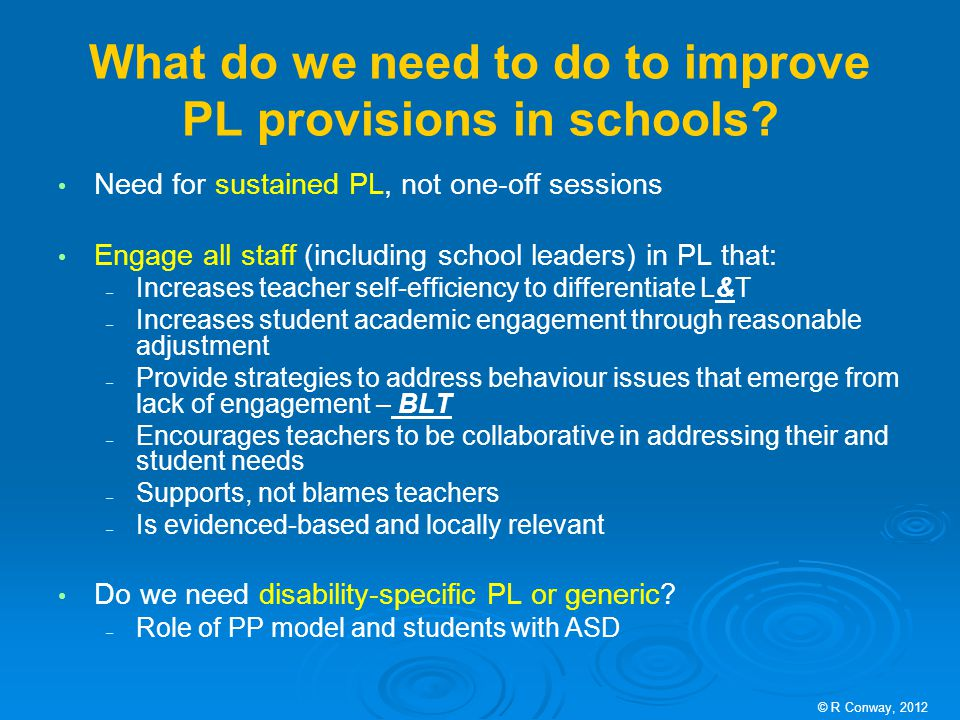 What do we need to do to improve PL provisions in schools.
