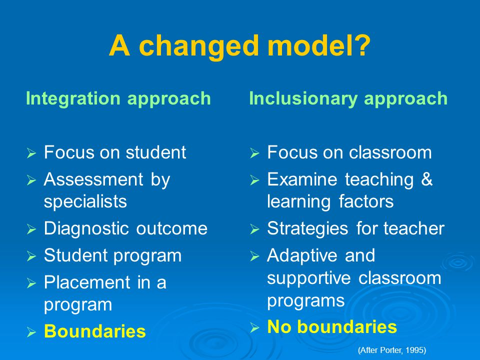 A changed model? Integration approach  Focus on student  Assessment by specialists  Diagnostic outcome  Student program  Placement in a program 